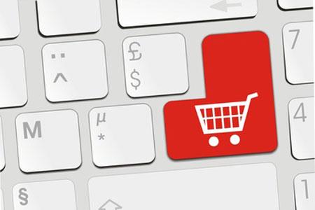Einkaufswagen-Symbol auf Enter-Taste einer Tastatur