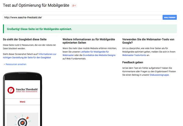 Responsive Webdesign im Google Mobile-Friendly Test