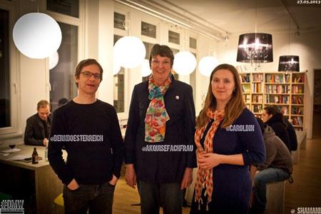 Bernd Österreich von der Gastgeber-Firma oose, Rednerin Martina Bloch, DMW-Ausrichterin Carolin Neumann