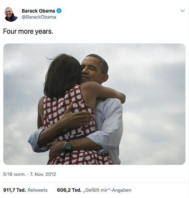 Tweet »Four more years.« von Barack Obama
