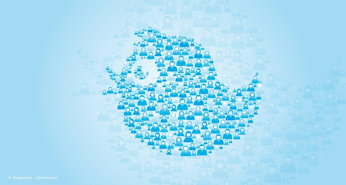 Twitter-Vogel aus Menschen zusammengestellt © designaart – Fotolia.com