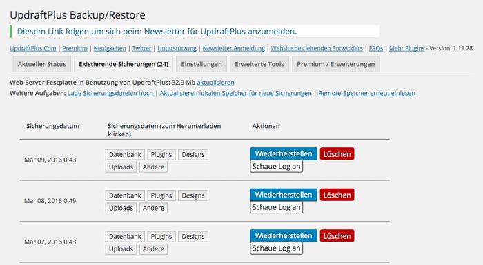 Bildschirmfoto: Existierende Blog-Sicherungen in UpdraftPlus für WordPress