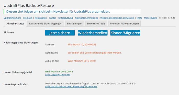 Bildschirmfoto: Aktueller Backup-Status in UpdraftPlus für WordPress