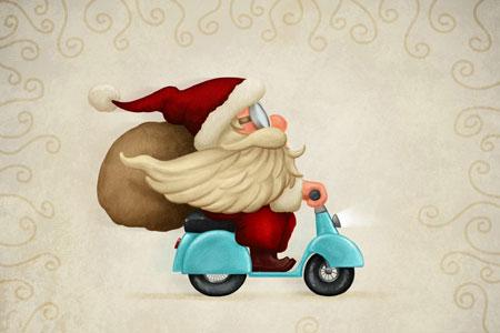 Weihnachtsmann auf Roller